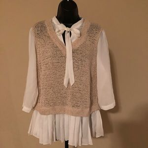 Lauren Conrad 2 In One Sweater/Blouse size L